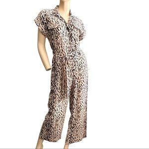 Joie Jailee Leopard print short sleeve jumpsuit- S